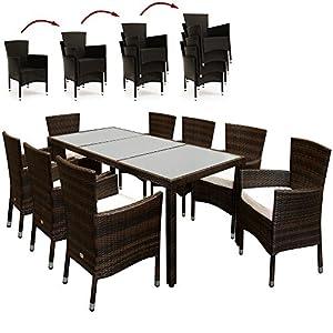 Deuba – Salon de Jardin en polyrotin Brun – Ensemble 8+1 – Chaises empilables Table avec Plateau en Verre dépoli…