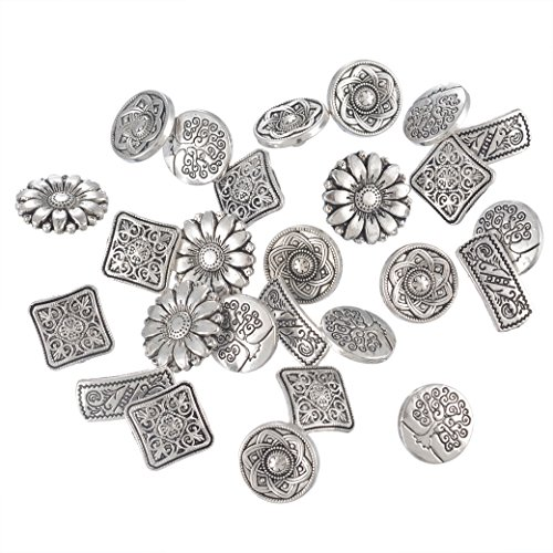 Flower Metal Buttons (Souarts Mixed Antique Silver Color Flower Metal Buttons Pack of 50pcs)