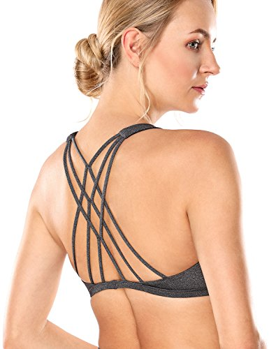 CRZ YOGA Women's Light Support Cross Back Wirefree Removable Cups Yoga Sport Bra Charcoal Heather S (Cup Bra Sports)