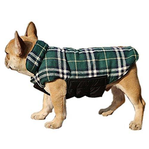 ThinkPet Reversible Dog Winter Coat, Dog Winter Jacket, Plaid, L, Green