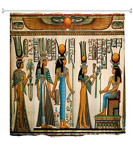 Goodbath Egyptian Queen Shower Curtain, Afro Theme Polyester Fabric Shower Curtains Set with Hooks, African Art Afrocentric Waterproof Bathroom Bath Curtain, 72 x 72 Inch