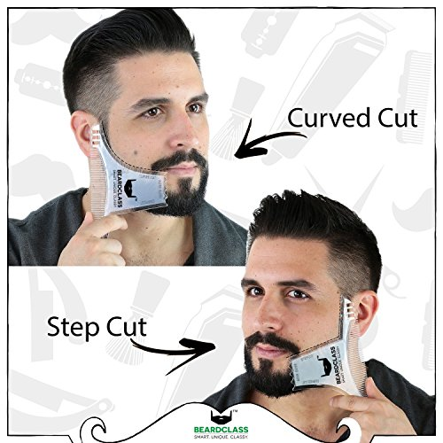 BEARDCLASS – Beard Shaping Tool – 6 in 1 Comb Multi-liner Beard Shaper Template Comb Kit Transparent – Bonus Items Included – Works with any Beard Razor Electric Trimmers or Clippers – (Clear)