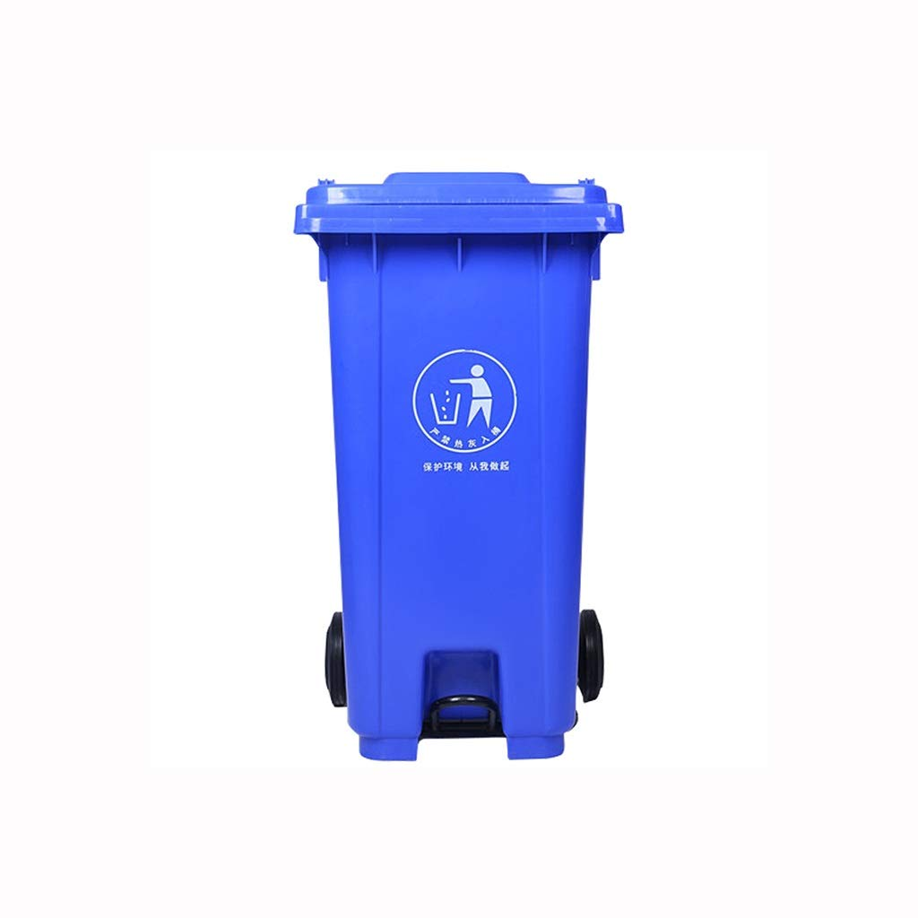 Kffc Big Trash Can,Foot Open Cover,Can Be Hung On The Car,120/240 Litre, Blue (Size : 120 L)