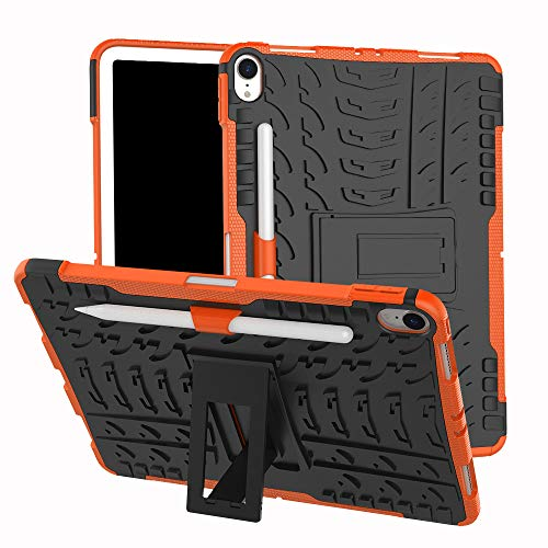 - for Apple IPad PRO 11 2018 Tablet Skin Sleeve Case Hybrid Rugged Hard Rubber PC Stand Case Cover (Orange)