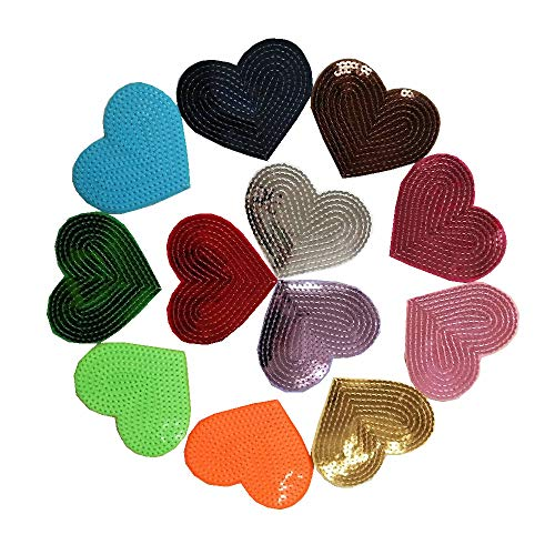 12 Pcs Flickering Bead Piece Love Heart Embroidered Patch Iron on Sewing Sequins Applique For Jeans Clothing - Sequin Heart Red