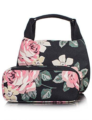 Floral Lunch Box for Girls, School Children Lunch Bag Pencil Case Pencil Bag 2 PCS by Leaper (Black)