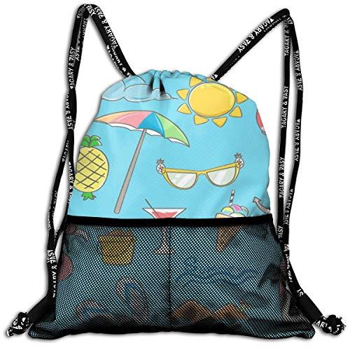 Taslilye Summer Elements Design Set With Hand Drawn Customized Drawstring Backpack Front Zipper Mesh Bag Unisex For Travel Fitness