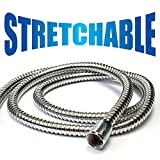 HotelSpa 5 to 7 Foot Extra Long Stretchable Stainless Steel Shower Hose Stretches to Your Needs!
