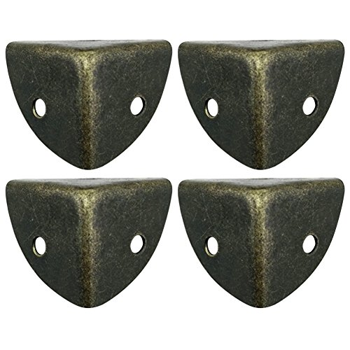 Lzttyee 4 Pack Iron Bronze Vintage Brass Edge Guard Box Corner Cover Protectors Furniture Decor (Bronze 1)