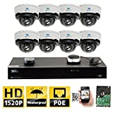 GW Security 8CH H.265 8MP 4K NVR 4MP (2592 x 1520) Plug & Play PoE IP Camera System, 8pcs 4MP 1520p 2.8-12mm Varifocal Zoom Weatherproof Dome Security Cameras, Pre-Installed 2TB HDD and More