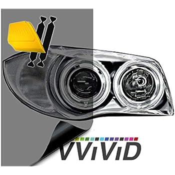 VViViD Smoke Black Gloss Vinyl Headlight Foglight Transparent Wet Tint Wrap Self-Adhesive (16