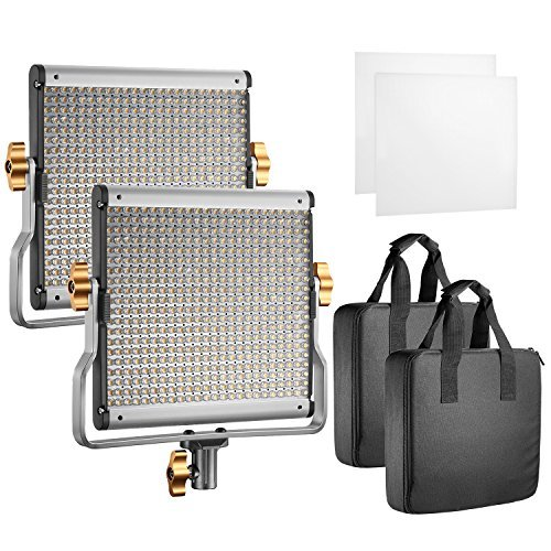 Neewer 2 Packs Dimmable Bi-Color 480 LED with U Bracket Professional Video Light for Studio, YouTube Outdoor Video Photography Lighting Kit, Durable Metal Frame,3200-5600K, CRI 96 by Neewer