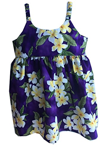 Girl's Plumeria Season Cruise Luau Hawaiian Bungee Dress (6, PURPLE)