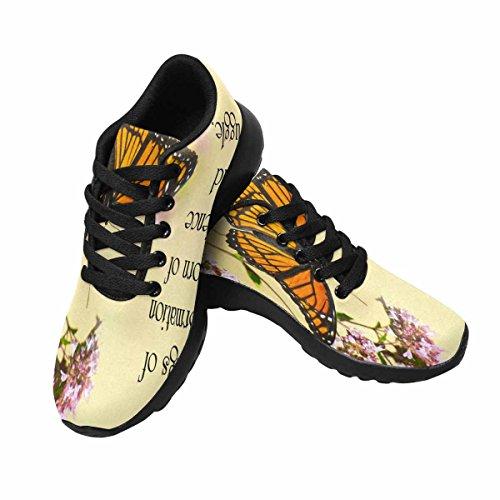 Interestprint Mujeres Correr Correr Zapatillas Ligeras Ir Fácil Caminar Confort Zapatillas Deportivas Cita Inspirada En La Vida Con La Hermosa Mariposa Monarca Encaramado En Algunas Flores Multi 1
