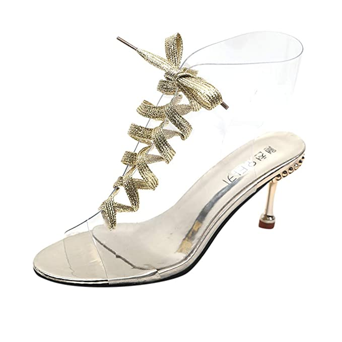 a6cf7dc81b2 Amazon.com: JJLIKER Women Clear Stiletto High Heel Gladiator ...