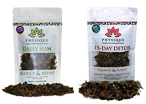 Master Diet Herb Tea (Physique Tea 30 Day Supply of Your Custom Blended Teatox + Daily Slim | Superior Body Cleanse and Slimming Tea | Free Detox Diet and Strainer Included)