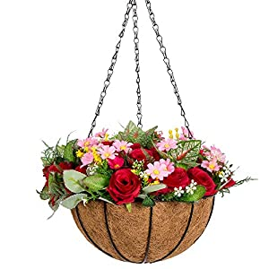 IBEUTES 10 inch Artificial Hanging Flower Artificial Rose Vine Silk Flower Garland Hanging Baskets Outdoor Wedding Arch Garden Wall Decor Indoor Outdoor 96