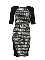 Rachel Rachel Roy Womens Jacquard Elbow Sleeves Wear to Work Dress B/W 12