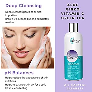 OIL CONTROL Natural solution to avoid acne breakouts- Oily Skin Care Kit - Acne Face Wash, Witch Hazel Toner for Face & Oil Free Face Moisturizer for Oily Skin & Blemish Treatment -30 Day Kit