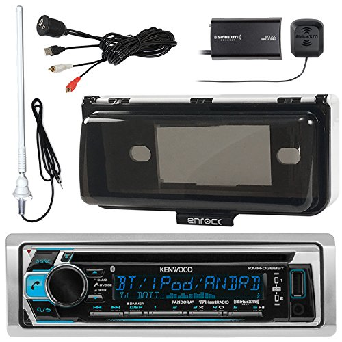 Kenwood KMR-D368BT Marine Boat Audio Bluetooth CD Player Receiver With White Waterproof Protective Cover Bundle Combo With Enrock USB/AUX To RCA Mount Cable + SiriusXM Tuner + 45