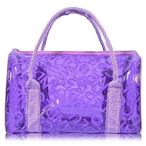Transparent Handbag Girls Green Tote Bags Purple Swimming Jelly Waterproof Beach PVC HugeStore Storage Handbag Tote Bag wtvxaUFnnq