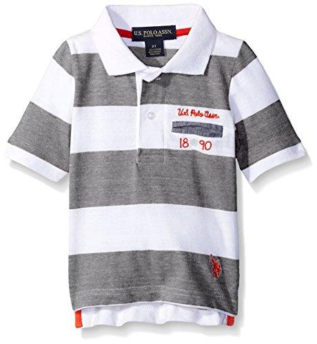 Striped Jersey Polo - U.S. Polo Assn. Little Boys Striped Jersey Polo Shirt, Black, 4