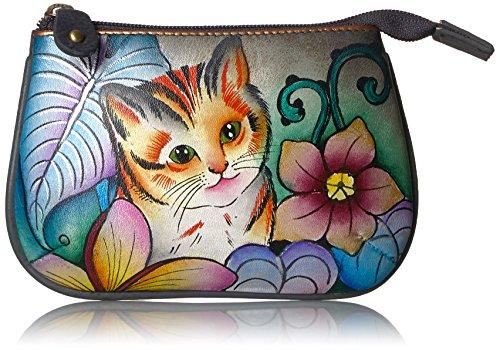 - Anuschka Medium Organizer Pouch / Coin Purse   Genuine Leather, Hand-painted Original Art   Cats in Wonderland