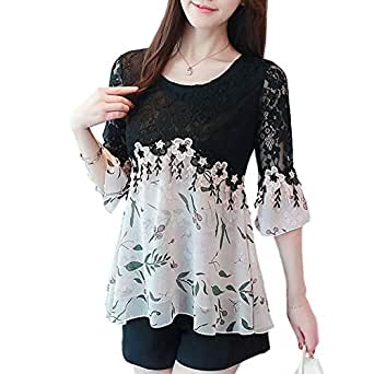 SansoiSan Women's Casual Crew Neck Plus Size Tops Lace Shirt Chiffon Blouse(S-5XL) - Multicolored - Small