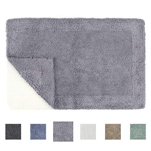 TOMORO Cotton Non-Slip Bathroom Rug Super Absorbent Soft - Luxury Hotel Linens Reversible Non-Skid Door and Bath Mat with Non-Slip Rug Pad (Bath Mats Reversible)