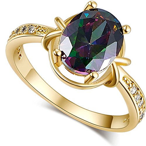 Date Solitaire Ring (Narica Women's Brilliant 10mm Oval Cut Rainbow Topaz Wedding Ring Band)