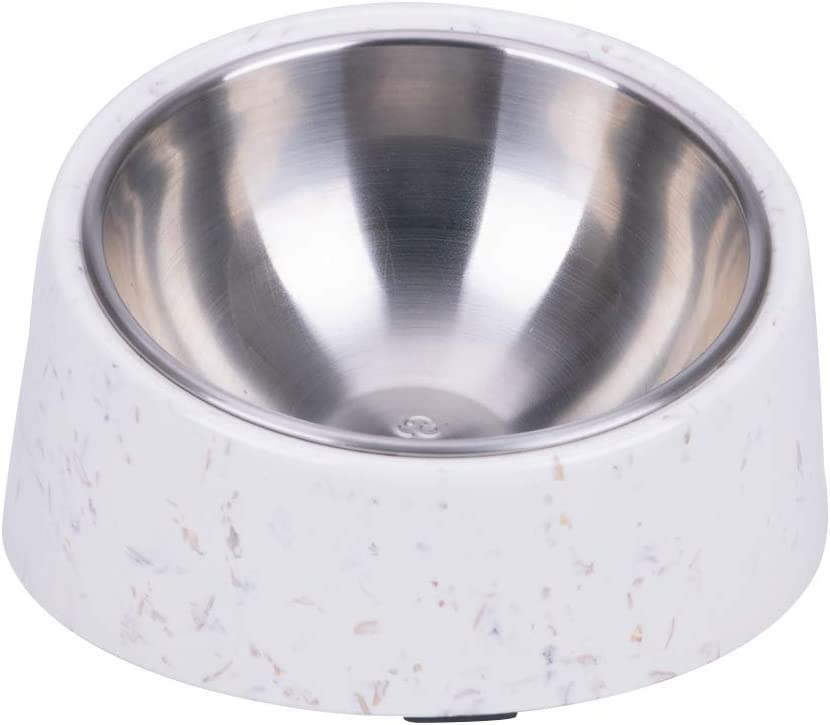 Super Design Mess Free 15° Slanted Bowl for Dogs and Cats, Tilted Angle Bulldog Bowl Pet Feeder, Non-Skid & Non-Spill, Easier to Reach Food 1.5 Cup Stalk