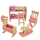 Wooden Doll Bunk Bed Set Furniture Dollhouse Miniature For Kids Child Play Toy Educational Toy Wooden Toys Baby Toys Gifts