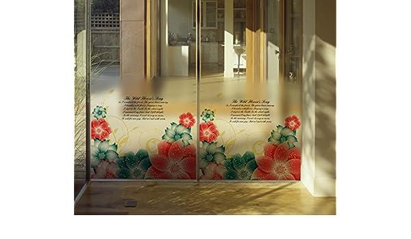 Keepforeverlove - Pegatina de Cristal Esmerilado para Puerta corredera de baño, diseño de Flores: Amazon.es: Hogar