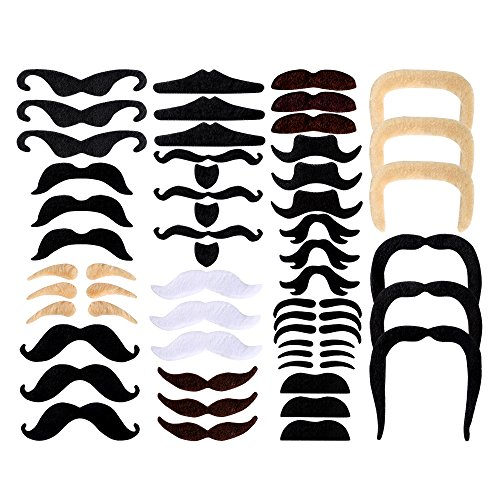 Pllieay 48 Pieces Fake Mustaches 16 Different Styles Self Adhesive Novelty Mustaches for Masquerade Party, Birthday Party and Performance - Disguise Stick