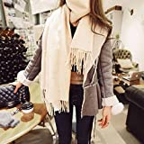 HOMEE Female Pearl Scarf Pashmina Scarf Thickened Students Warm in Winter White