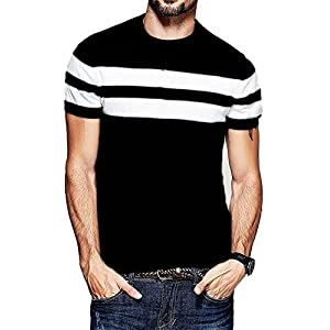 Veirdo Men's Cotton T-Shirt Black with White Strip Casual T-Shirts