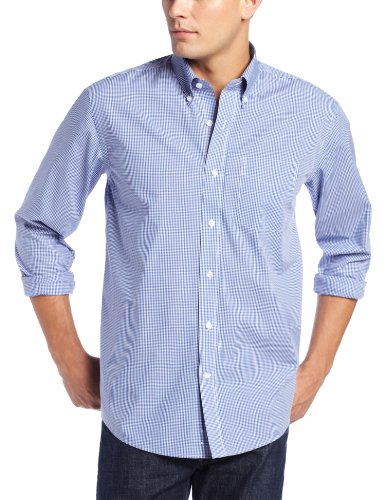 (Cutter & Buck Men's Long Sleeve Epic Easy Care Gingham Shirt, French Blue, Large )