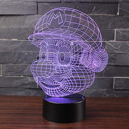 (Doremy 3D Illusion LED Night Light Table Desk Lamp 7 Colors Gradual Changing Touch with USB Cable for Home Decoration or Children's Gifts (Mario))
