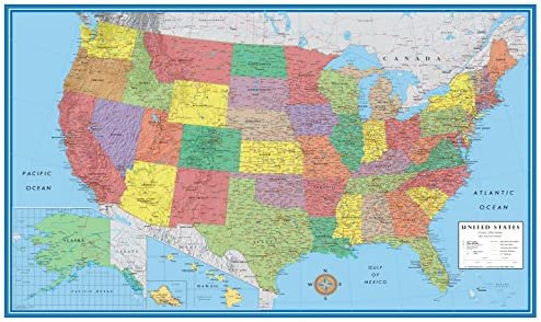 Amazoncom 24x36 United States Usa Classic Elite Wall Map Mural - Us-map-poster
