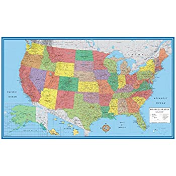 Amazoncom X Huge United States USA Classic Elite Wall Map - A usa map