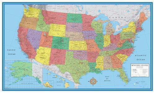 Laminated Rolled Map - 24x36 United States, USA Classic Elite Wall Map Mural Poster (Paper Rolled)