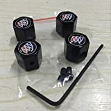 CHAMPLED NEW (4PC) BUICK LOGO METAL BLACK ANTI-THEFT WHEEL TIRE AIR VALVE STEM CAPS DUST COVER