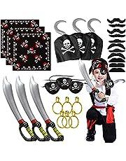 Piraatkostuum piraat rollenspel dress up met piraat kapitein Bandana piraat oogpatch piraat zwaard piraat haak oorbellen snor piraat accessoires voor Halloween en piraat party kostuum prop