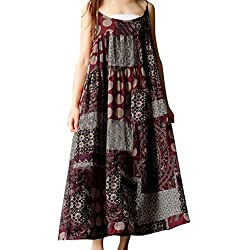 Baskuwish Women Summer Sleeveless Linen Strappy Loose Bohe Print Long Casual Sling Dress Plus Size Red M