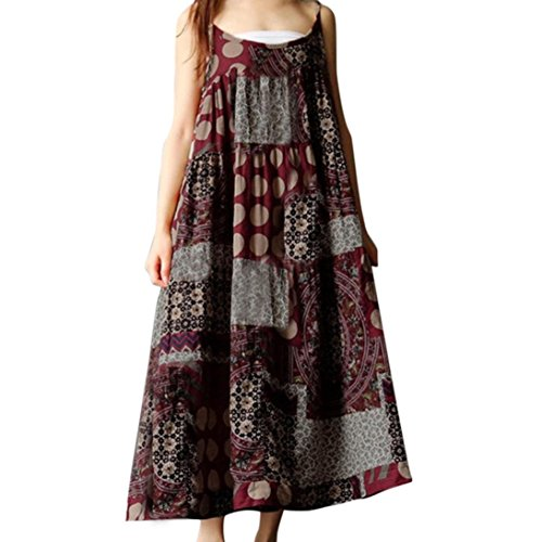 baskuwish Women Summer Sleeveless Linen Strappy Loose Bohe Print Long Casual Sling Dress Plus Size (Red, 3XL) by baskuwish