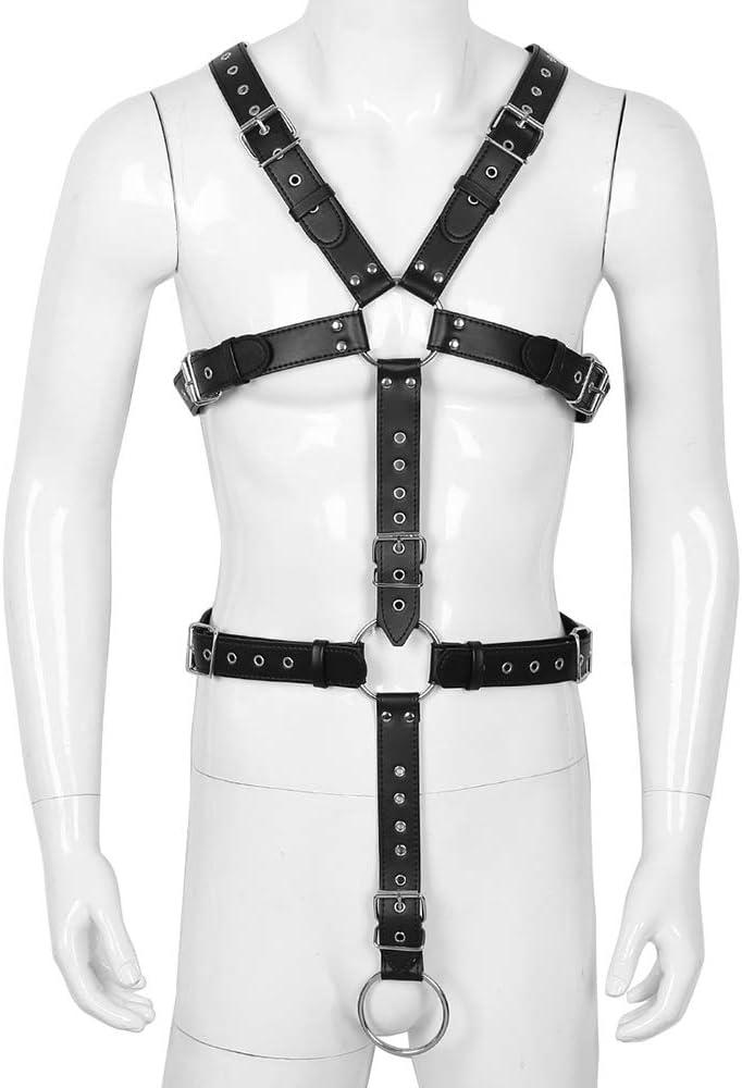 Cuerpo masculino Arnés de cuero Traje gótico BDSM Bondage Traje ...