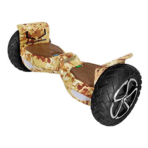 Swagtron T6 Off-Road Hoverboard - First in the World to Handle Over 380 LBS, Up to 12 MPH, UL2272 Certified, 10' Wheel (Desert Camouflage)