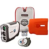 Bundle: Bushnell 2016 Tour V4 Jolt Patriot Pack Golf Laser Rangefinder + CR2 Battery + 1 Custom Ball Marker Clip Set (American Eagle) + Orange Silicon Skin