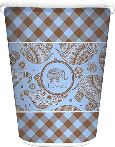 RNK Shops Gingham & Elephants Waste Basket - Double Sided (White) (Personalized)