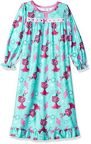 (Trolls Girls' Granny Nightgown, Aqua Poppy,)